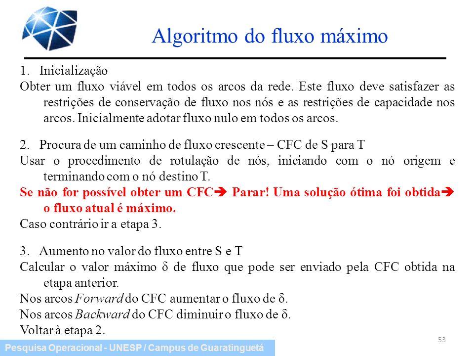 Pesquisa Operacional - UNESP / Campus de Guaratinguetá Algoritmo do fluxo máximo 53 1. Inicialização Obter um fluxo viável em todos os arcos da rede.