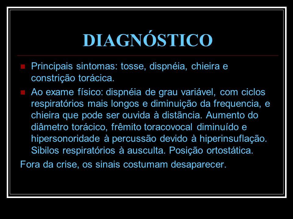 DIAGNÓSTICO Principais sintomas: tosse, dispnéia, chieira e constrição torácica. Ao exame físico: dispnéia de grau variável, com ciclos respiratórios