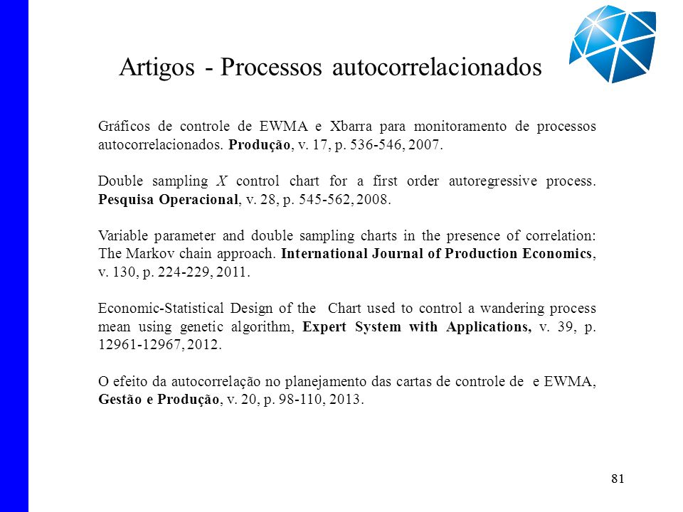 82 Artigos - Processos multivariados The double sampling and the EWMA charts based on the sample variances.