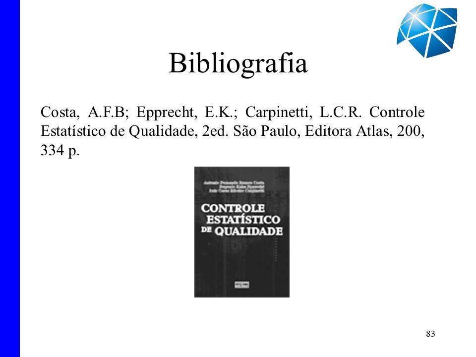 83 Bibliografia 83 Costa, A.F.B; Epprecht, E.K.; Carpinetti, L.C.R. Controle Estatístico de Qualidade, 2ed. São Paulo, Editora Atlas, 200, 334 p.