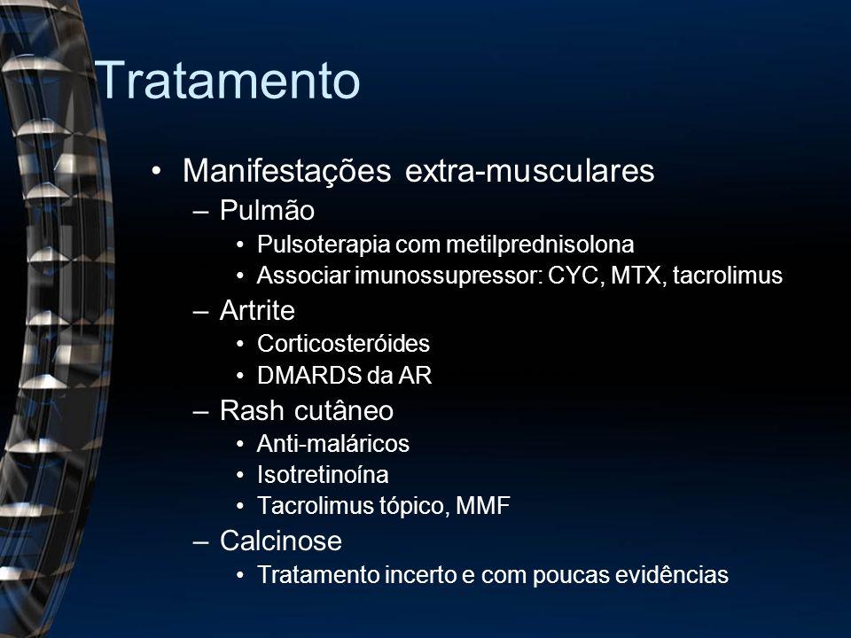 Tratamento Manifestações extra-musculares –Pulmão Pulsoterapia com metilprednisolona Associar imunossupressor: CYC, MTX, tacrolimus –Artrite Corticost