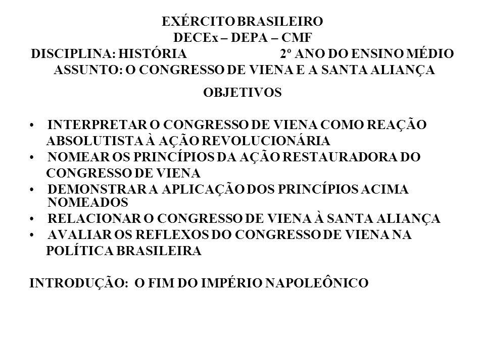 EXÉRCITO BRASILEIRO DECEx – DEPA – CMF DISCIPLINA: HISTÓRIA 2º ANO DO ENSINO MÉDIO ASSUNTO: O CONGRESSO DE VIENA E A SANTA ALIANÇA OBJETIVOS INTERPRET