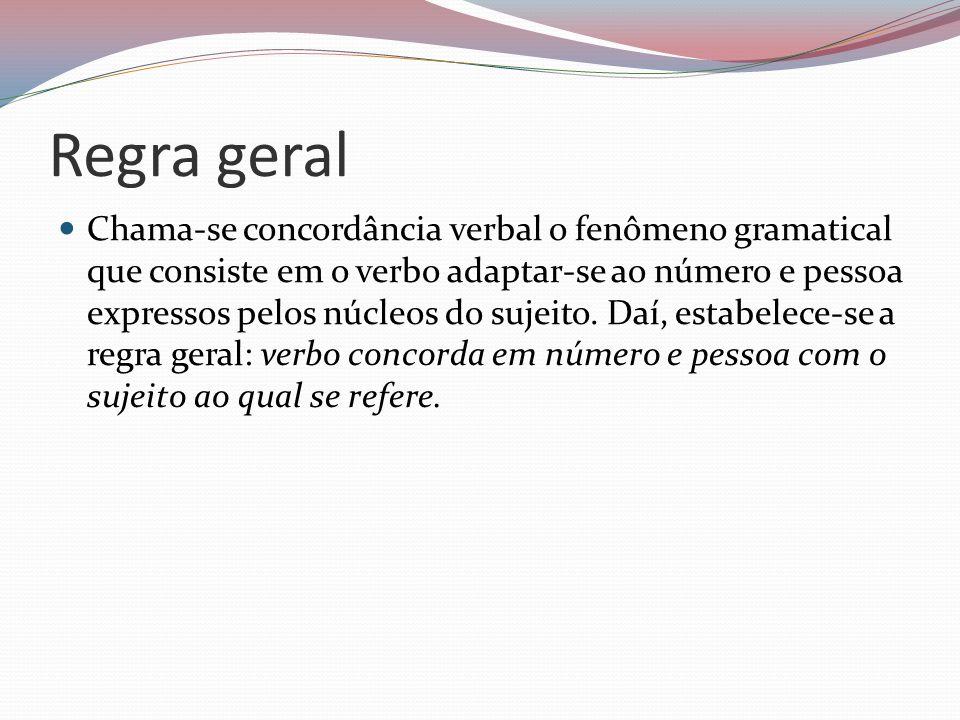 Regra geral Chama-se concordância verbal o fenômeno gramatical que consiste em o verbo adaptar-se ao número e pessoa expressos pelos núcleos do sujeit