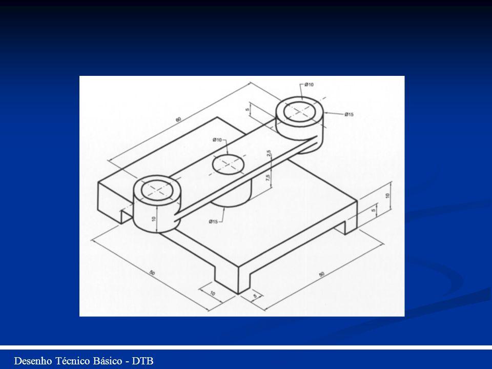 Desenho Técnico Básico - DTB Ativa o comando Cylinder, e inserir as coordenadas: Raio = 5 Comprimento = 10 Copiar o cilindro criado para outra extremidade da peça com distância de 60 no eixo X.