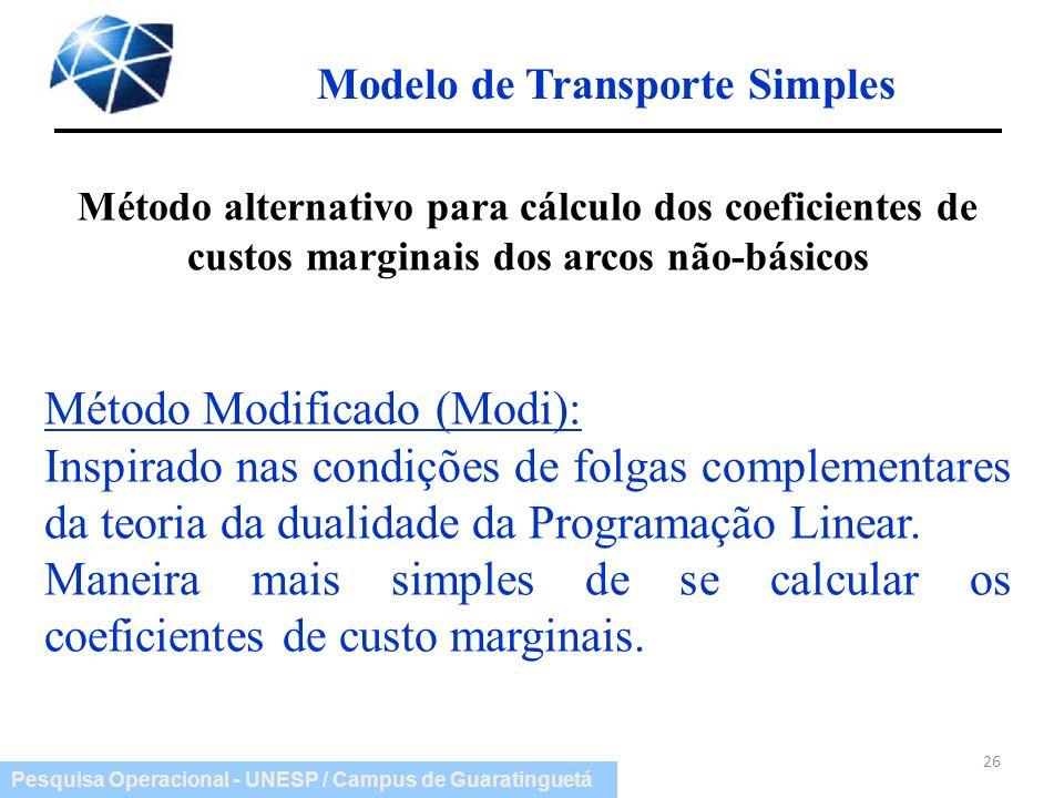 Pesquisa Operacional - UNESP / Campus de Guaratinguetá Modelo de Transporte Simples 26 Método alternativo para cálculo dos coeficientes de custos marg