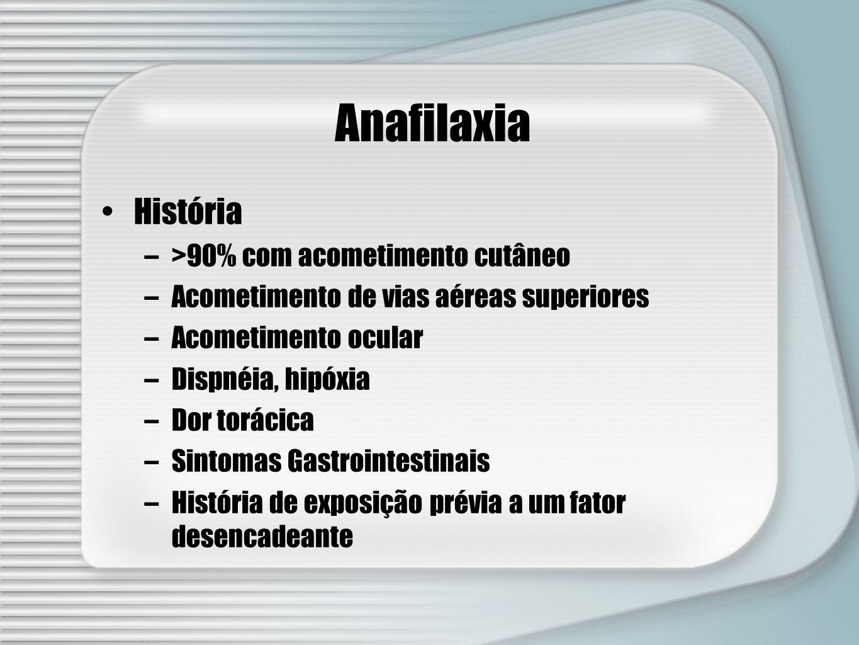 Anafilaxia História –>90% com acometimento cutâneo –Acometimento de vias aéreas superiores –Acometimento ocular –Dispnéia, hipóxia –Dor torácica –Sint