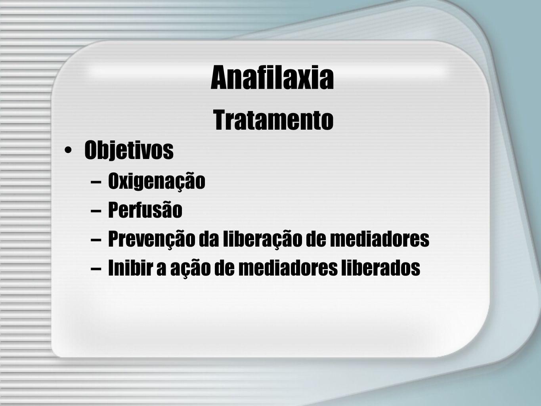 Tratamento Anafilaxia Objetivos –Oxigenação –Perfusão –Prevenção da liberação de mediadores –Inibir a ação de mediadores liberados