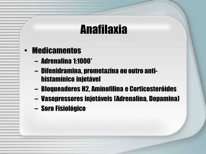 Anafilaxia Medicamentos –Adrenalina 1:1000* –Difenidramina, prometazina ou outro anti- histamínico injetável –Bloqueadores H2, Aminofilina e Corticost