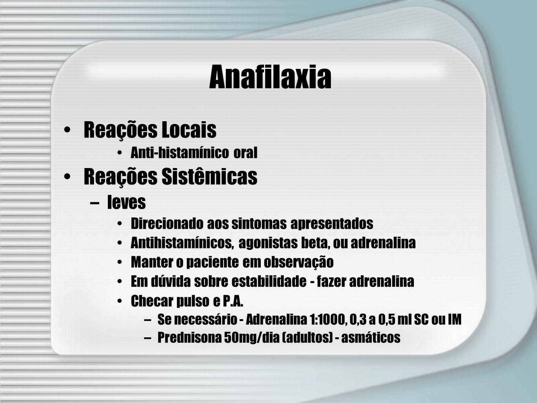 Anafilaxia Reações Locais Anti-histamínico oral Reações Sistêmicas –leves Direcionado aos sintomas apresentados Antihistamínicos, agonistas beta, ou a