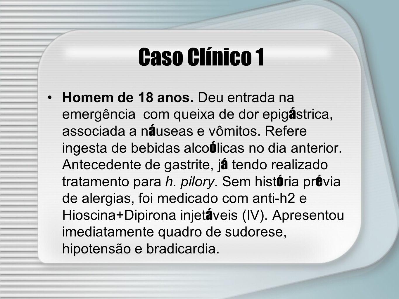 Caso Clínico 1 Homem de 18 anos. Deu entrada na emergência com queixa de dor epig á strica, associada a n á useas e vômitos. Refere ingesta de bebidas