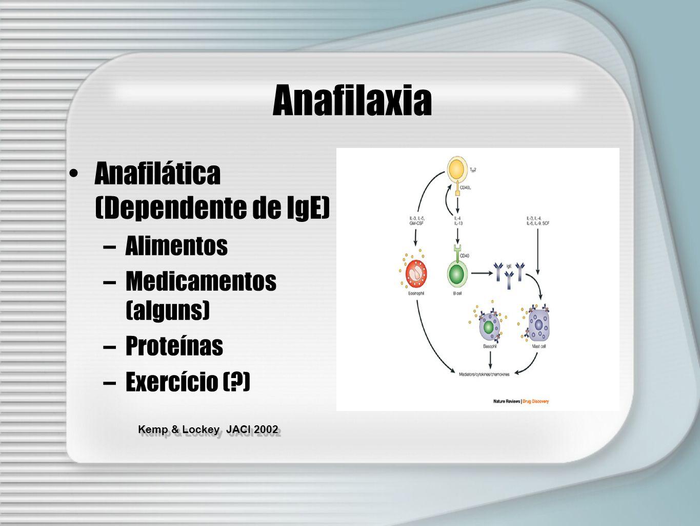 Kemp & Lockey JACI 2002 Anafilaxia Anafilática (Dependente de IgE) –Alimentos –Medicamentos (alguns) –Proteínas –Exercício (?)
