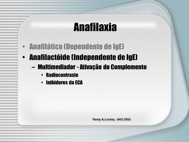 Kemp & Lockey JACI 2002 Anafilaxia Anafilática (Dependente de IgE) Anafilactóide (Independente de IgE) –Multimediador - Ativação do Complemento Radioc