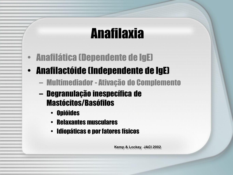 Kemp & Lockey JACI 2002 Anafilaxia Anafilática (Dependente de IgE) Anafilactóide (Independente de IgE) –Multimediador - Ativação do Complemento –Degra