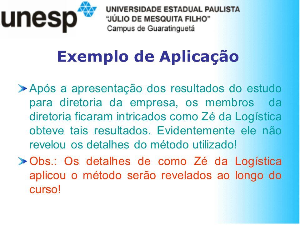 Exemplo de Aplicação Após a apresentação dos resultados do estudo para diretoria da empresa, os membros da diretoria ficaram intricados como Zé da Log