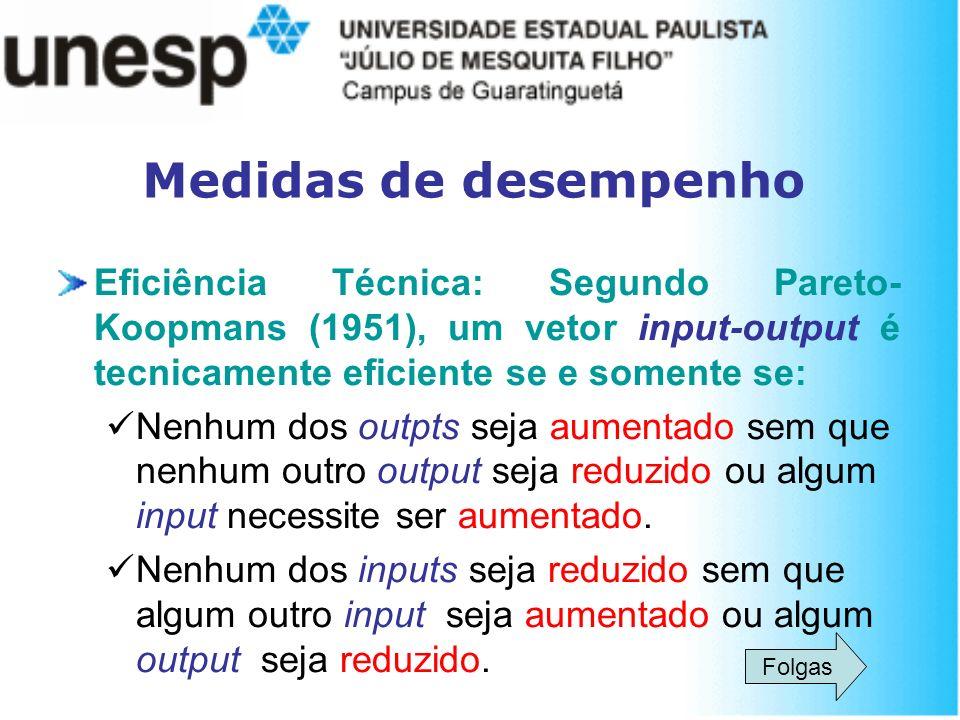 Medidas de desempenho Eficiência Técnica: Segundo Pareto- Koopmans (1951), um vetor input-output é tecnicamente eficiente se e somente se: Nenhum dos