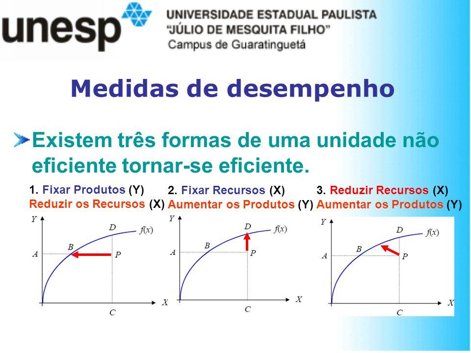Medidas de desempenho Existem três formas de uma unidade não eficiente tornar-se eficiente. 1. Fixar Produtos (Y) Reduzir os Recursos (X) 2. Fixar Rec