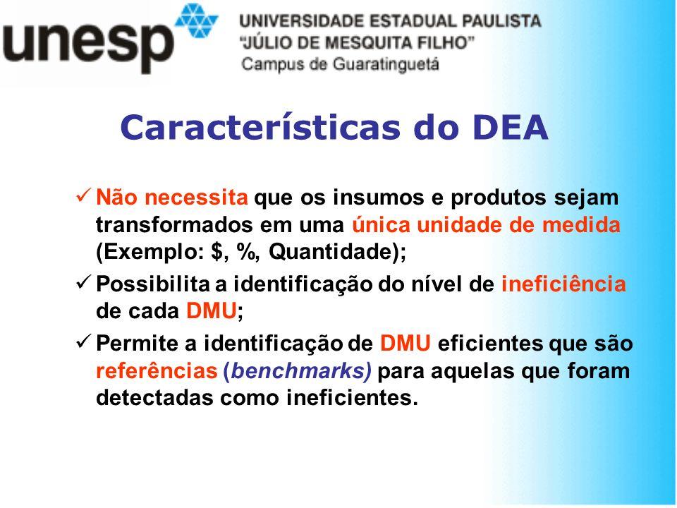 Características do DEA Não necessita que os insumos e produtos sejam transformados em uma única unidade de medida (Exemplo: $, %, Quantidade); Possibi