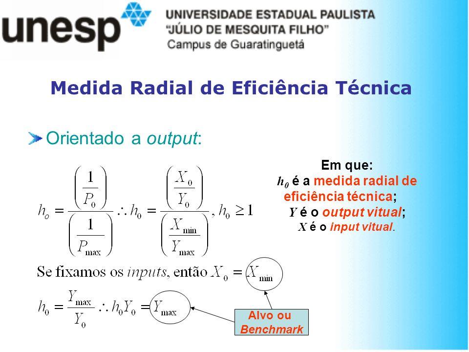 Medida Radial de Eficiência Técnica Orientado a output: Em que: h 0 é a medida radial de eficiência técnica; Y é o output vitual; X é o input vitual.