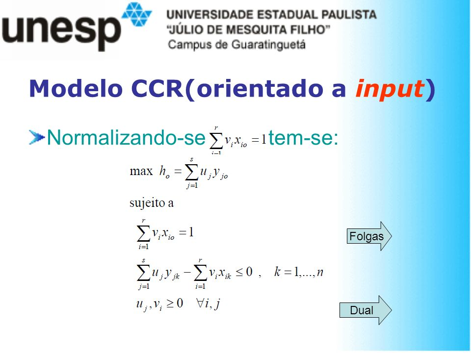 Normalizando-se tem-se: Dual Modelo CCR(orientado a input) Folgas