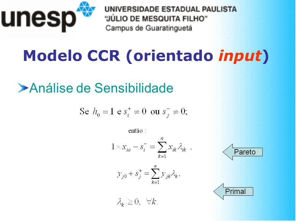 Modelo CCR (orientado input) Análise de Sensibilidade Primal Pareto