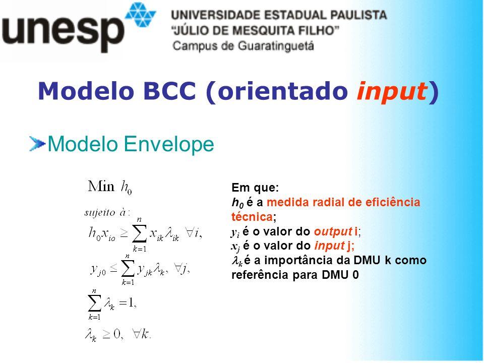 Modelo BCC (orientado input) Modelo Envelope Em que: h 0 é a medida radial de eficiência técnica; y i é o valor do output i; x j é o valor do input j;