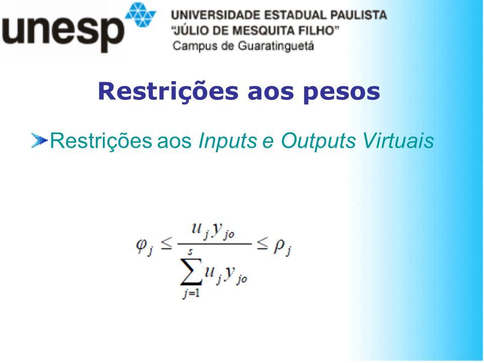 Restrições aos pesos Restrições aos Inputs e Outputs Virtuais