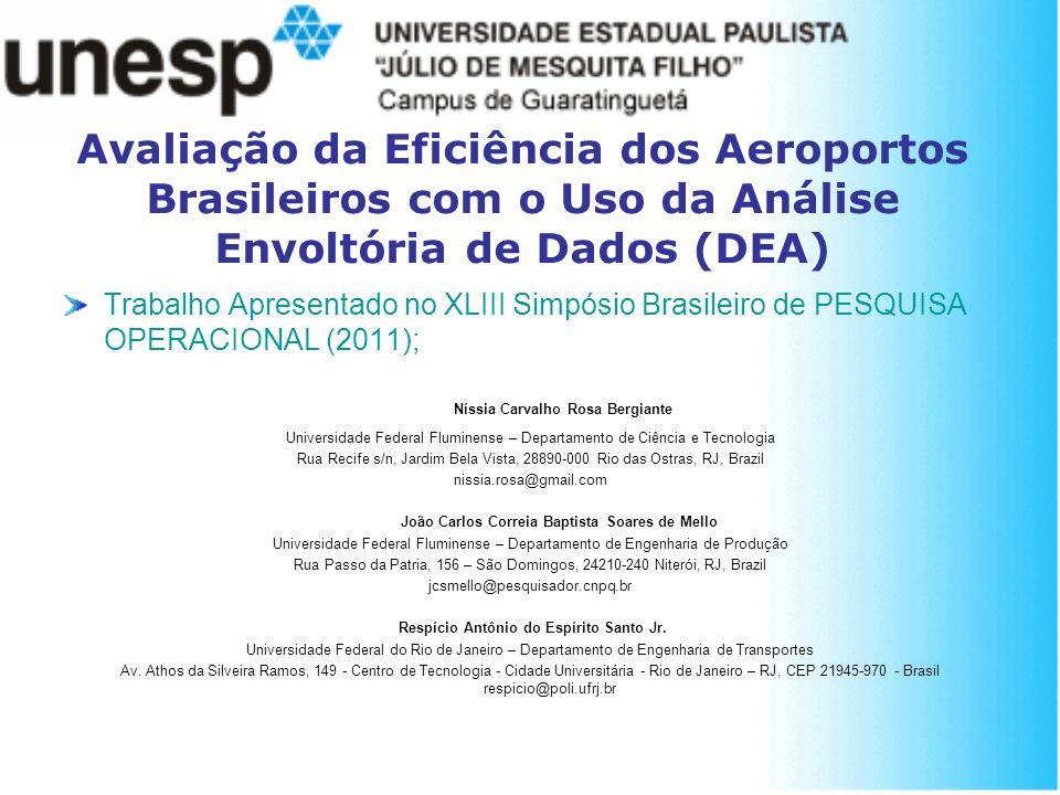 Avaliação da Eficiência dos Aeroportos Brasileiros com o Uso da Análise Envoltória de Dados (DEA) Trabalho Apresentado no XLIII Simpósio Brasileiro de