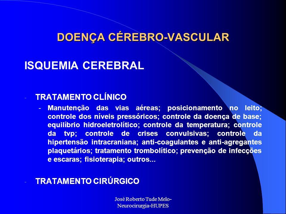 José Roberto Tude Melo- Neurocirurgia-HUPES DOENÇA CÉREBRO-VASCULAR ISQUEMIA CEREBRAL - TRATAMENTO CLÍNICO - Manutenção das vias aéreas; posicionament