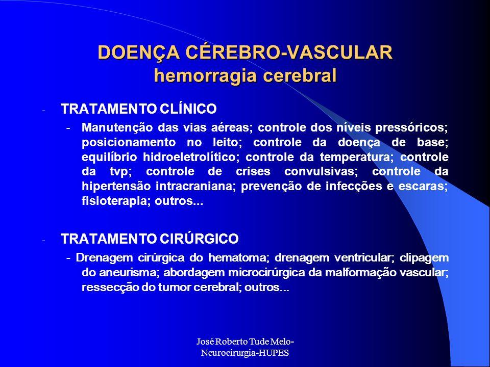 José Roberto Tude Melo- Neurocirurgia-HUPES DOENÇA CÉREBRO-VASCULAR hemorragia cerebral - TRATAMENTO CLÍNICO - Manutenção das vias aéreas; controle do