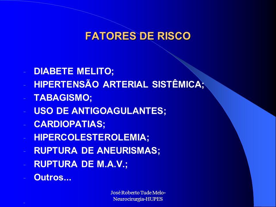 José Roberto Tude Melo- Neurocirurgia-HUPES FATORES DE RISCO - DIABETE MELITO; - HIPERTENSÃO ARTERIAL SISTÊMICA; - TABAGISMO; - USO DE ANTIGOAGULANTES