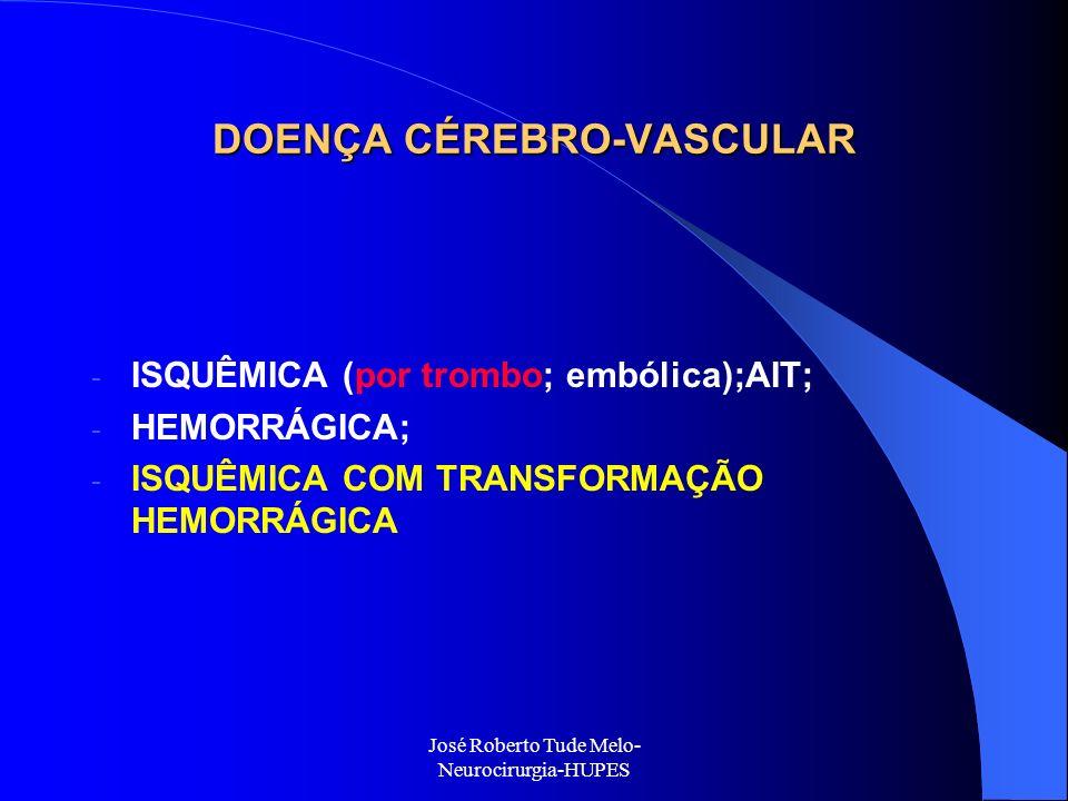 DOENÇA CÉREBRO-VASCULAR - ISQUÊMICA (por trombo; embólica);AIT; - HEMORRÁGICA; - ISQUÊMICA COM TRANSFORMAÇÃO HEMORRÁGICA