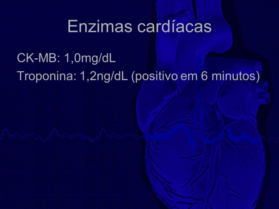 Enzimas cardíacas CK-MB: 1,0mg/dL Troponina: 1,2ng/dL (positivo em 6 minutos)