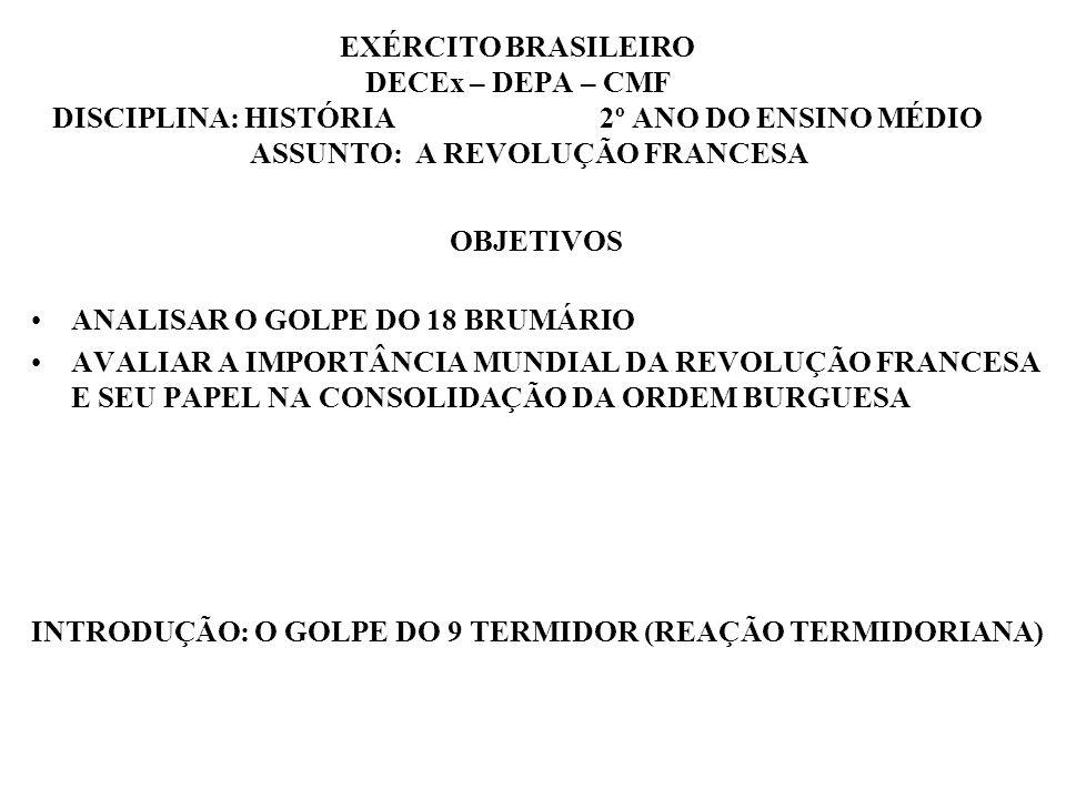 EXÉRCITO BRASILEIRO DECEx – DEPA – CMF DISCIPLINA: HISTÓRIA 2º ANO DO ENSINO MÉDIO ASSUNTO: A REVOLUÇÃO FRANCESA OBJETIVOS ANALISAR O GOLPE DO 18 BRUM