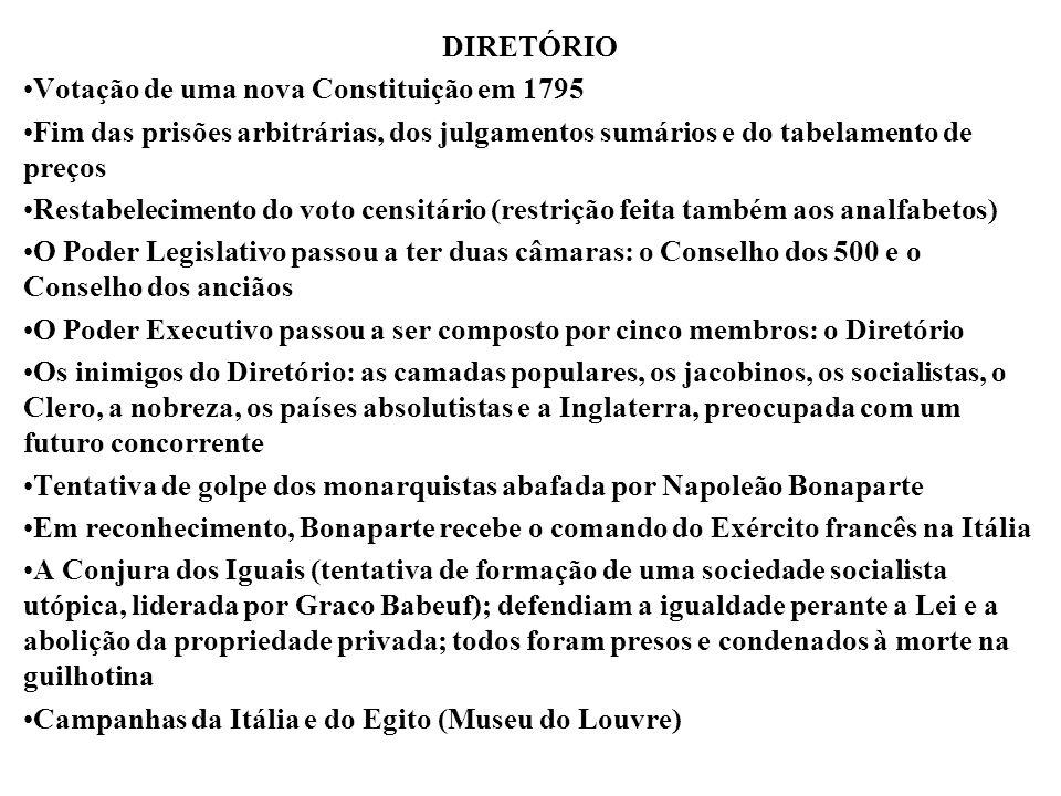 DIRETÓRIO Votação de uma nova Constituição em 1795 Fim das prisões arbitrárias, dos julgamentos sumários e do tabelamento de preços Restabelecimento d