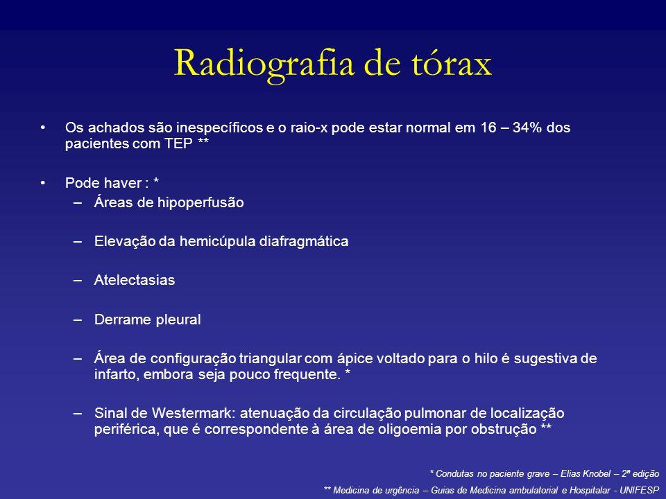 Radiografia de tórax Os achados são inespecíficos e o raio-x pode estar normal em 16 – 34% dos pacientes com TEP ** Pode haver : * –Áreas de hipoperfu