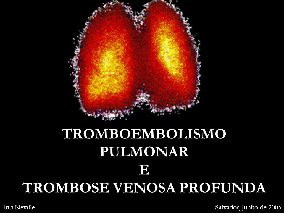 Diagnóstico diferencial TEP MODERADO Pneumonia DPOC Atelectasias Derrame pleural Bronquiectasia Hiperventilação Bronquite aguda Dor muscular Pleurite aguda Pericardite Asma aguda Câncer pulmonar TEP GRAVE IAM Pneumotórax Arritmias cardíacas Edema agudo de pulmão Choque séptico Tamponamento cardíaco Dissecção da aorta Exacerbação da DPOC