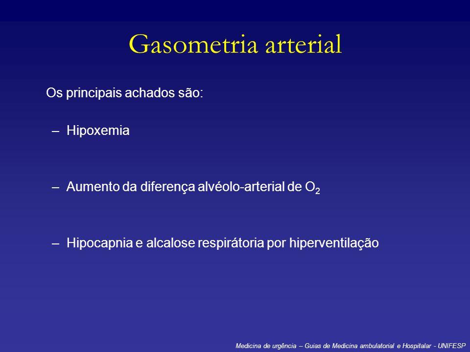 Gasometria arterial Os principais achados são: –Hipoxemia –Aumento da diferença alvéolo-arterial de O 2 –Hipocapnia e alcalose respirátoria por hiperv