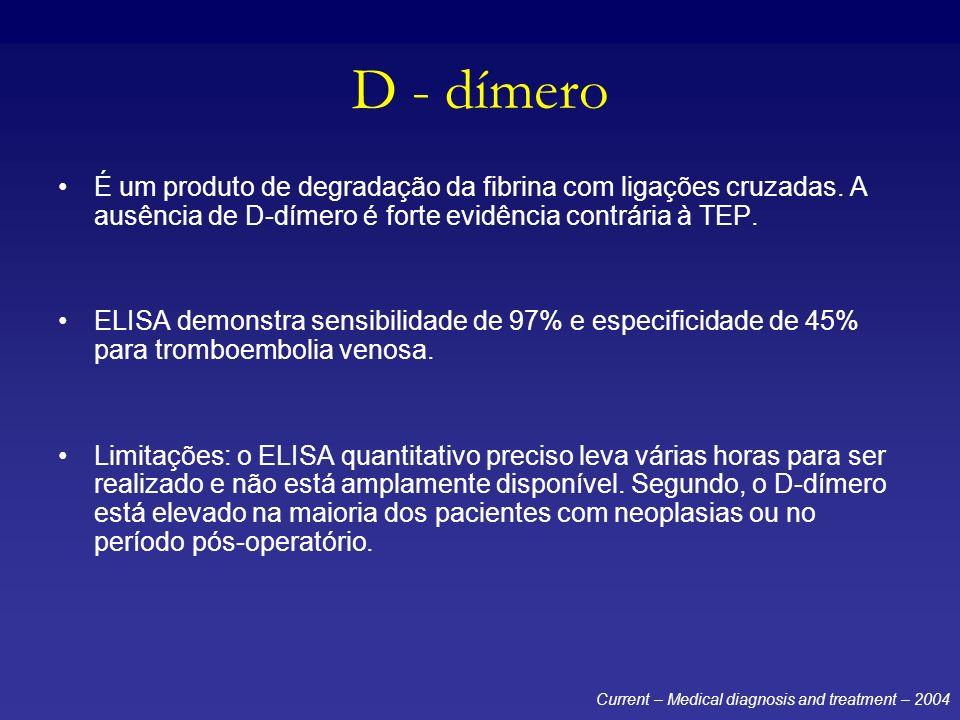 D - dímero É um produto de degradação da fibrina com ligações cruzadas. A ausência de D-dímero é forte evidência contrária à TEP. ELISA demonstra sens