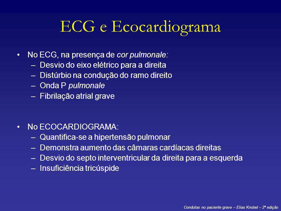 ECG e Ecocardiograma No ECG, na presença de cor pulmonale: –Desvio do eixo elétrico para a direita –Distúrbio na condução do ramo direito –Onda P pulm
