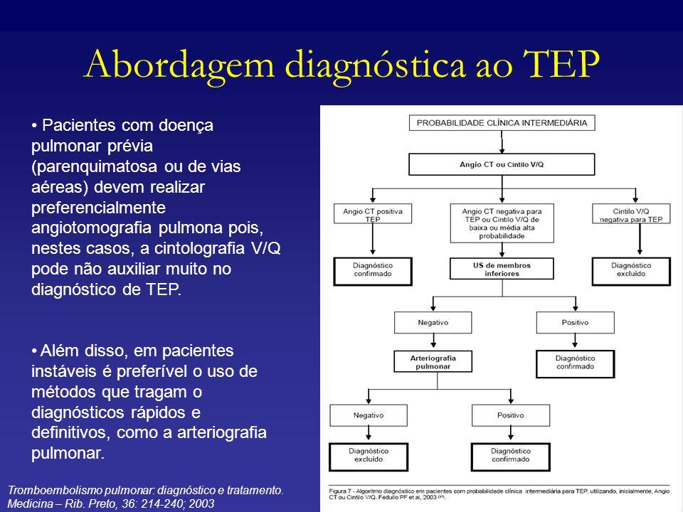 Abordagem diagnóstica ao TEP Pacientes com doença pulmonar prévia (parenquimatosa ou de vias aéreas) devem realizar preferencialmente angiotomografia
