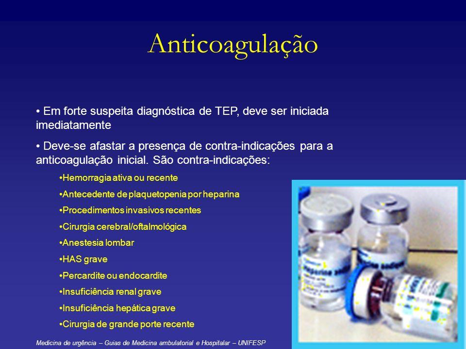 Anticoagulação Em forte suspeita diagnóstica de TEP, deve ser iniciada imediatamente Deve-se afastar a presença de contra-indicações para a anticoagul