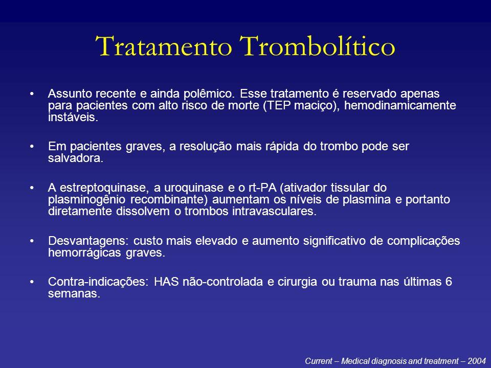 Tratamento Trombolítico Assunto recente e ainda polêmico. Esse tratamento é reservado apenas para pacientes com alto risco de morte (TEP maciço), hemo