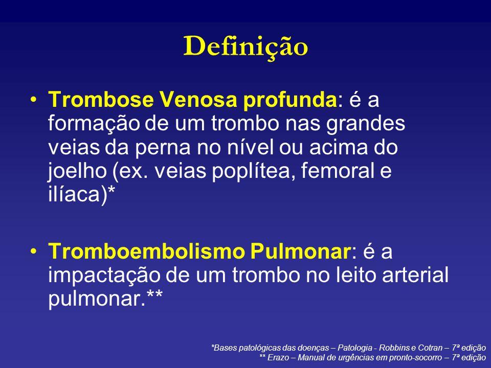 Definição Trombose Venosa profunda: é a formação de um trombo nas grandes veias da perna no nível ou acima do joelho (ex. veias poplítea, femoral e il