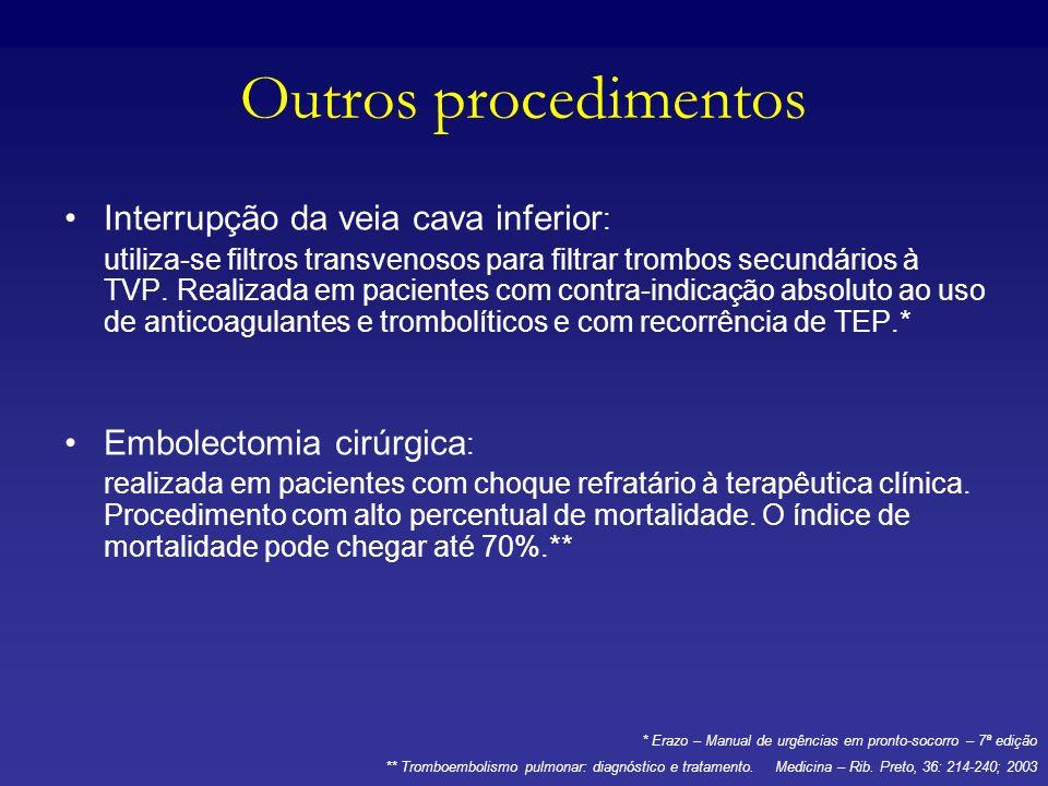 Outros procedimentos Interrupção da veia cava inferior : utiliza-se filtros transvenosos para filtrar trombos secundários à TVP. Realizada em paciente