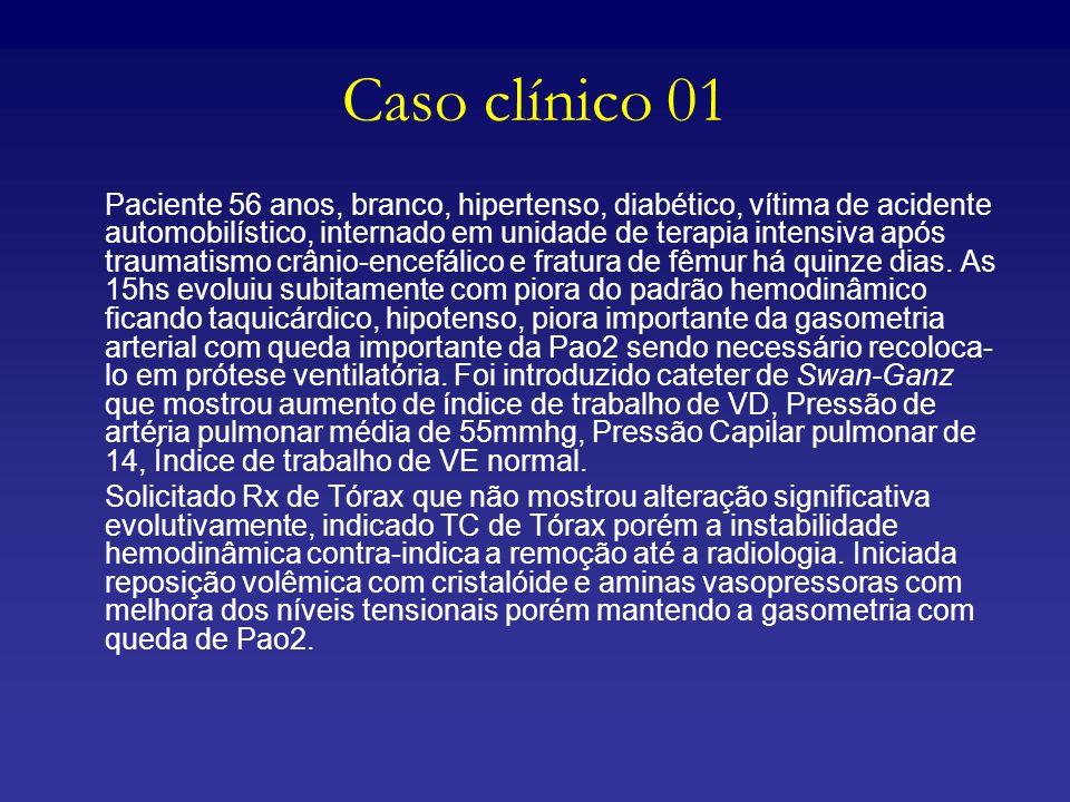 Caso clínico 01 Paciente 56 anos, branco, hipertenso, diabético, vítima de acidente automobilístico, internado em unidade de terapia intensiva após tr