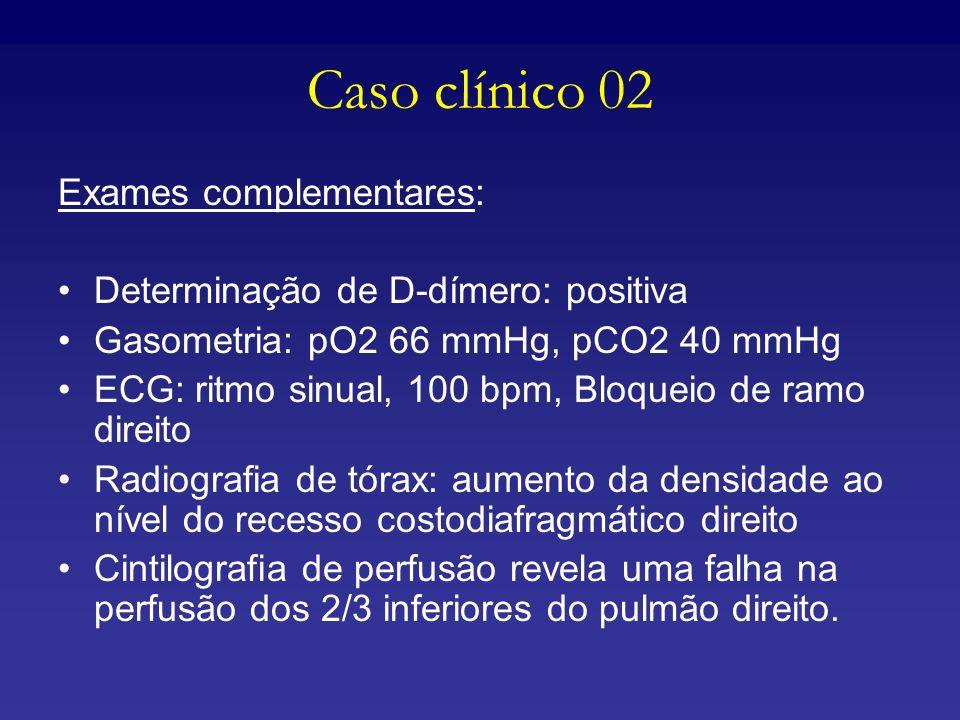 Caso clínico 02 Exames complementares: Determinação de D-dímero: positiva Gasometria: pO2 66 mmHg, pCO2 40 mmHg ECG: ritmo sinual, 100 bpm, Bloqueio d