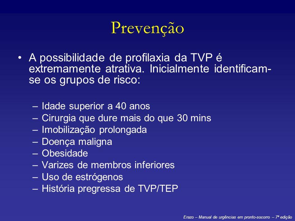 Prevenção A possibilidade de profilaxia da TVP é extremamente atrativa. Inicialmente identificam- se os grupos de risco: –Idade superior a 40 anos –Ci