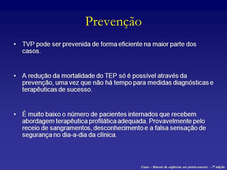 Prevenção TVP pode ser prevenida de forma eficiente na maior parte dos casos. A redução da mortalidade do TEP só é possível através da prevenção, uma