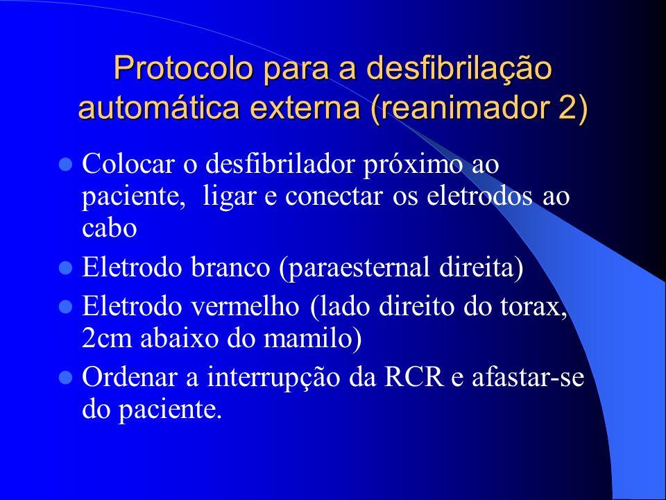 Protocolo para a desfibrilação automática externa (reanimador 1) Certificar-se de que o paciente está inconsciente e pedir ajuda Abrir vias aéreas ver