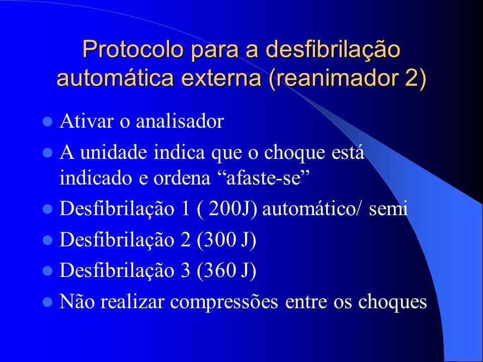 Protocolo para a desfibrilação automática externa (reanimador 2) Colocar o desfibrilador próximo ao paciente, ligar e conectar os eletrodos ao cabo El